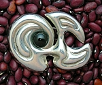 Taxco Mexico Sterling Silver Onyx Modernist Brooch