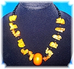 Click to view larger image of Golden Jade ZODIAC Necklace Amber and Sterling Silver (Image1)