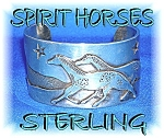 Click to view larger image of Spirit Horses Designer Artist KIYO Cuff Sterling Silver (Image1)