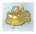 Antique Gold Gilded Metal Pansy Jewl Box