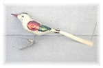Antique Handblown GlassSilver Red Green Christmas Bird