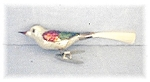 Antique Handblown Glass Silver/Red/Green Bird