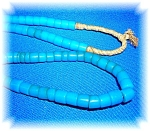 Turquoise Glass 30 inch Trade Beads Necklace