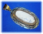 Sterling Silver Signed RCC White Turquoise Pendant