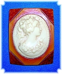 Large Bakelite and Lucite Cameo Brooch Pin