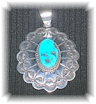 Signed EllaSterling Silver Turquoise Pendant