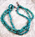 Sterling Silver Turquoise 3 Strand Necklace By EX EX