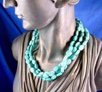 Click to view larger image of Sterling Silver Turquoise 3 Strand Necklace By EX EX (Image4)