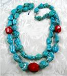 Native American Turquoise Coral Beads Sterling Silver