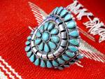 Native American Turquoise Sterling Silver Cuff TOM LONG