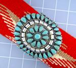 Click to view larger image of Native American Turquoise Sterling Silver Cuff TOM LONG (Image6)
