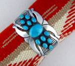 Click to view larger image of Native American MARTINEZ Sterling Silver Turquoise Cuff (Image2)