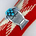 Click to view larger image of Native American MARTINEZ Sterling Silver Turquoise Cuff (Image5)
