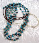 Click to view larger image of Turquoise Nugget Heishi Bead Necklace Santo Domingo (Image1)