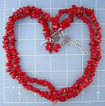 Coral 2 Strand necklace Sterling Silver Hook Clasp