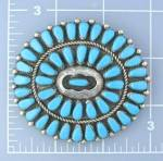 Click to view larger image of Silver Turquoise American Indan Brooch  SignedTRUJILLO (Image2)