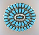 Click to view larger image of Silver Turquoise American Indan Brooch  SignedTRUJILLO (Image3)