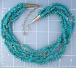Turquoise and Spiny oyster Nuggets 5 Strand Necklace