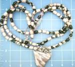 Click to view larger image of Agate Pink Black 3 Strands Sterling Silver Agate Penda (Image2)