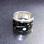 Calvin Begay Opal Onyx Sun Moon Stars Ring USA