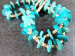 Turquoise and Tan Heishe  Necklace 29 1/2 Inches