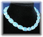 Opaline Glass Faceted  Bead Necklace Hand Knotted