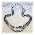 Sterling Silver Graduated Beads Double Row