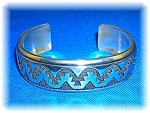 Click to view larger image of TOMMY SINGER Signed Cuff Sterling Silver Bracelet (Image1)