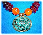 Click to view larger image of Amber Turquoise Tortoise Look Bead necklace (Image1)