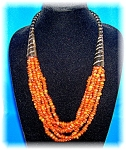 Click to view larger image of 6 Strand Amber ? Horn Bead Ethnic  Necklace (Image1)