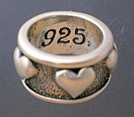 Click to view larger image of EXEX Claudia Aguadilio Sterling Silver Hearts Ring (Image1)