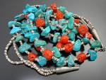 Click to view larger image of Necklace Turquoise Heishi Coral 2 Strands Santo Domingo (Image1)