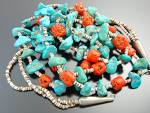 Click to view larger image of Necklace Turquoise Heishi Coral 2 Strands Santo Domingo (Image2)