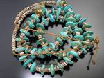 Click to view larger image of Native American Turquoise Nuggets and Heishi Necklace (Image1)