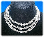 1920s Crystal Bead Necklace Sterling Silver Clasp