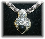 Necklace Sterling Silver & Heart Black Onyx Pendant