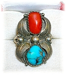 Ring Sterling Silver Turquoise Coral Curley Preston