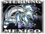 Click to view larger image of Mexican Sterling Silver  Amethyst  Flower Pin (Image1)
