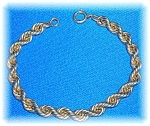 12K Gold Fill Rope Bracelet 7 1/2 inches