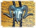 Click to view larger image of 1989 Pewter and Leather Bolo Rams Head Tie (Image1)