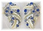 Silvertone BSK Rhinestone Leaf Clip Earrings