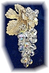 Click here to enlarge image and see more about item 1107200438: Crystal Hanging Vine Borealis Grape Brooch