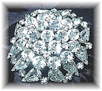 Click here to enlarge image and see more about item 1107200440: WEISS Sparkling  Crystal Rhodium SilvertonSquare Brooch