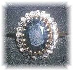 Ring 10K Gold Sapphire Diamond Princess Diana