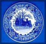 Click to view larger image of House of Seven Gables Souvenir Plate, blue transfer, (Image1)