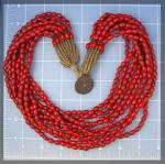 Necklace Red Glass 10 Strand 22 Inch Brass Toggle