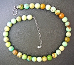 Green Turquoise 11mm Bead Sterling Silver Necklace