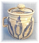 Click here to enlarge image and see more about item 1113200433: Stoneware Sugar Blue Corn Design Jar