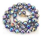 Glass Faceted Blue Pink Green Irridescent Beads