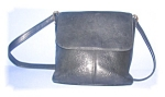 Click here to enlarge image and see more about item 1115200510: BLACK LEATHER FOSSIL SHOULDER BAG...